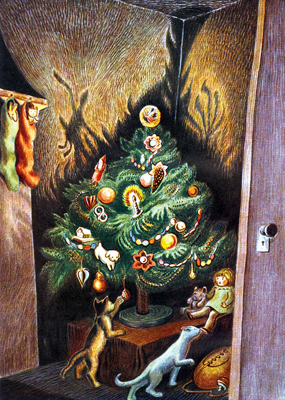 "Cats at the Christmas Tree In Laughing Elephant's ""Big Book of Christmas"" See the book >"