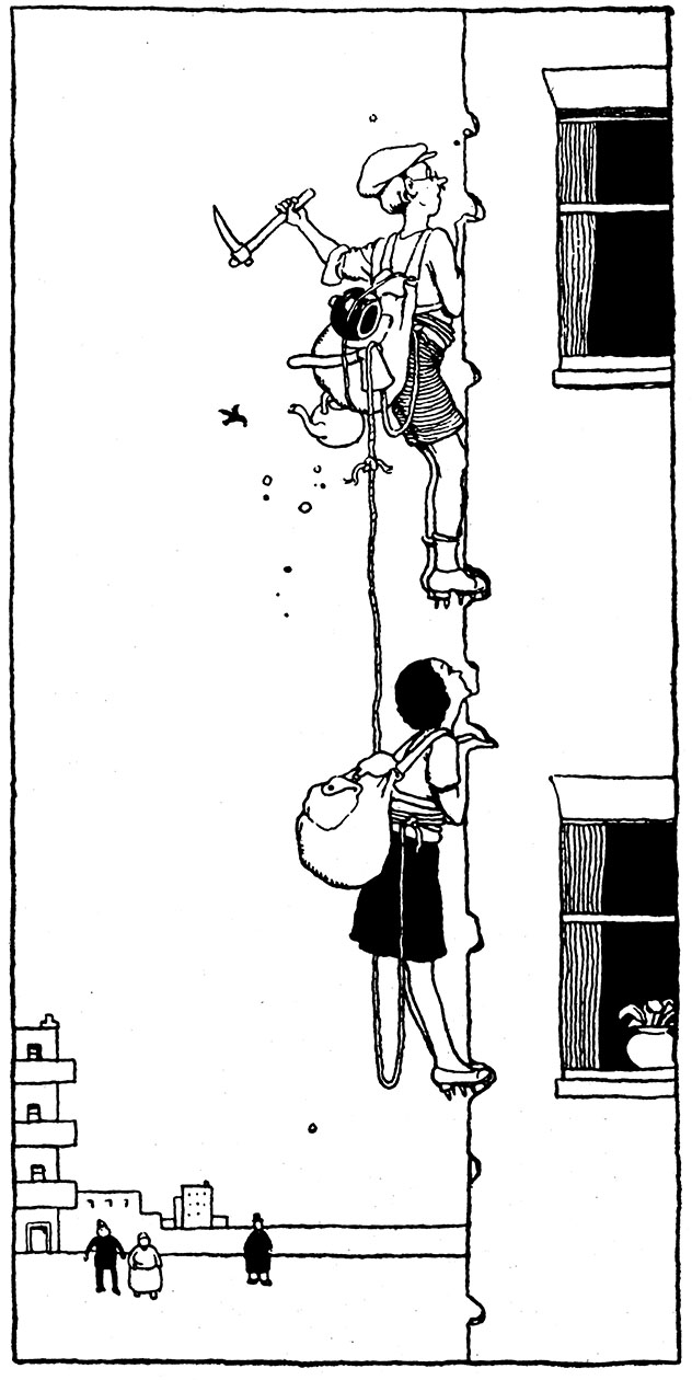 "Illustration from ""How to Live in a Flat' by W. Heath Robinson"