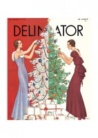 two ladies decorating a christmas tree; Delineator cover illustration