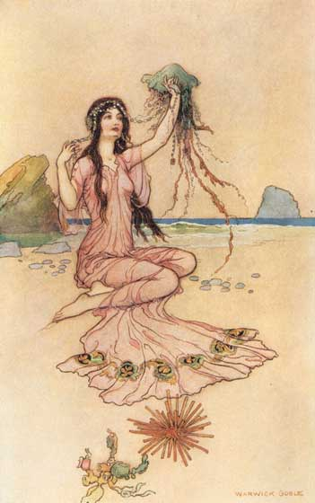 This lovely nymph, from the illustrator Warwick Goble, illustrates a section the Elizabethan poet Mi