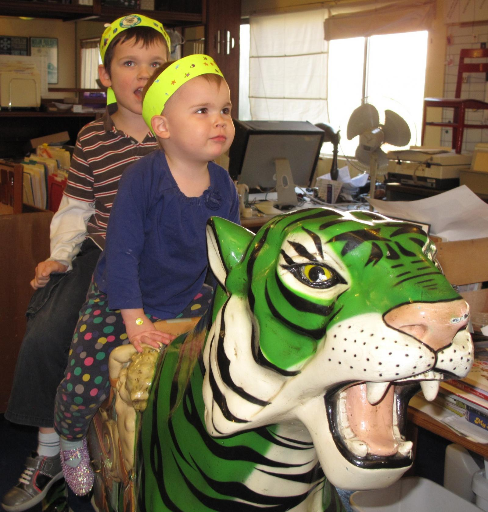 Penelope and Declan on the Green Tiger