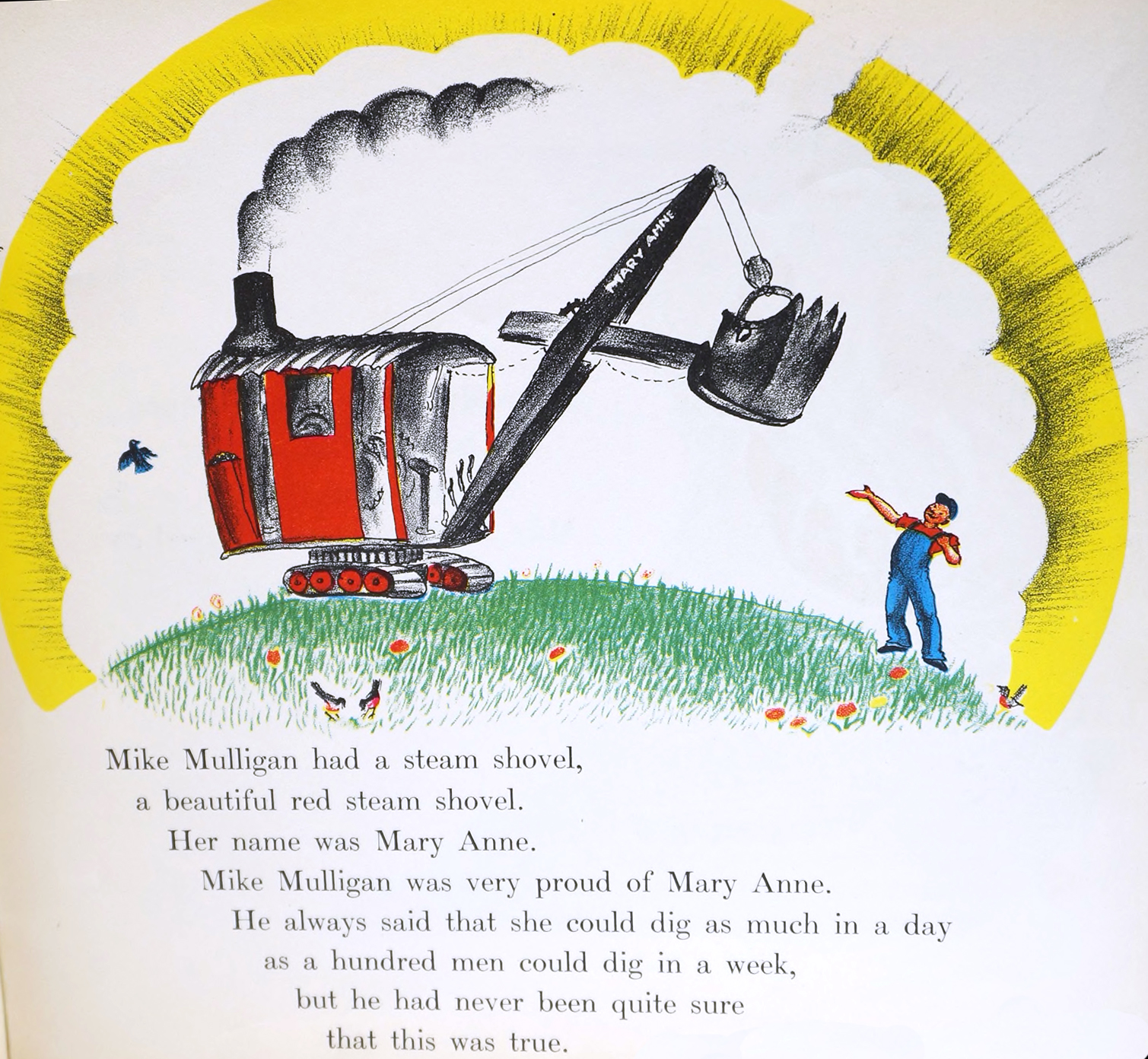 """Mike Mulligan and His Steam Shovel"" illustration by Virginia Lee Burton"