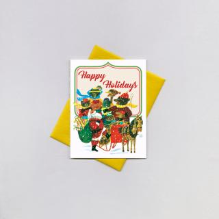 Santa & Animals in a Sleigh (Little Golden Christmas Greeting Cards)