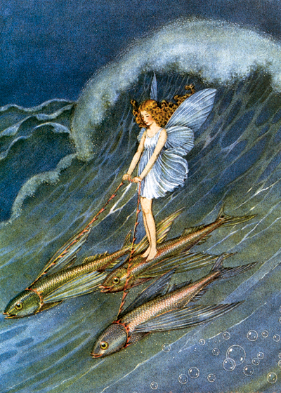A fairy standing on the backs of fish as she rides down a huge wave.