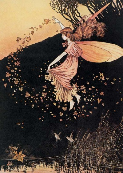 Ida Outhwaite picture of a fairy dancing with leaves and rabbits