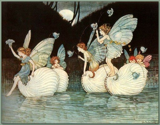 A group of fairies riding shells across a lake, with a moonlit background.