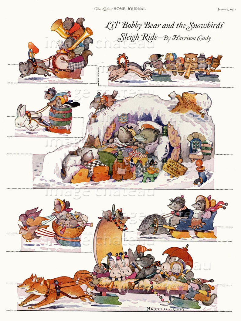 A Page of Christmas Decorations by Harrison Cady