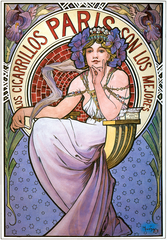 Cigarrillos Paris Poster by Alphonse Mucha