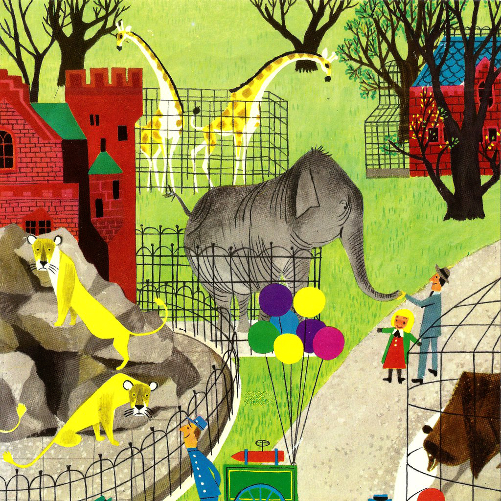"""Illustration from """"Animal Fair, """" 1952 by Alice and Martin Provensen"""