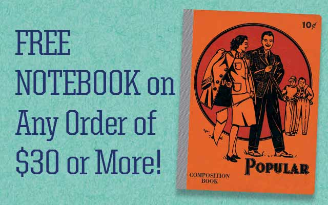 Free Notebook On Any Order of $30 or More!