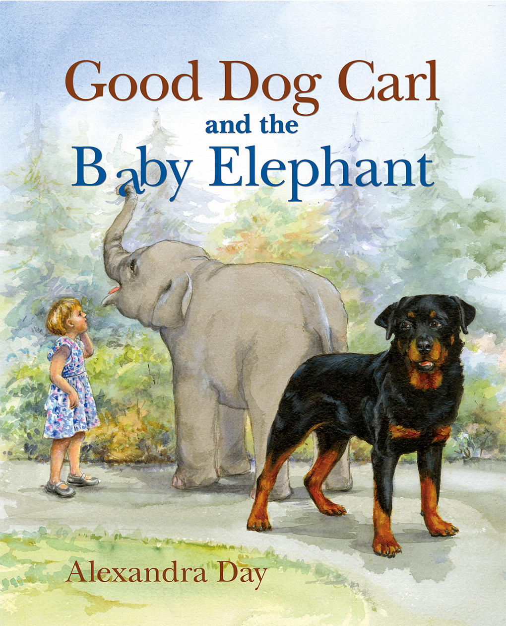 """Good Dog Carl and the Baby Elephant"" cover by Alexandra Day"
