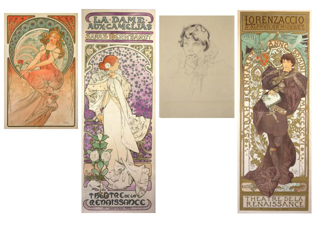 Posters  and a sketch by Alphonse Mucha